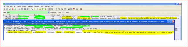 LDAP bind failure